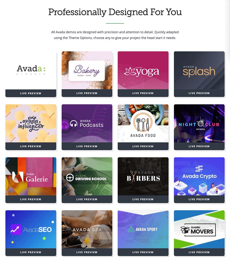 Avada 展示網站