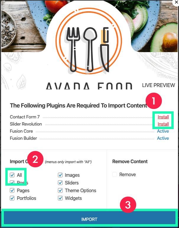 Avada教學 :安裝模板相關外掛&資料