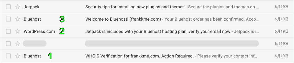bluehost 寄送的確認信件