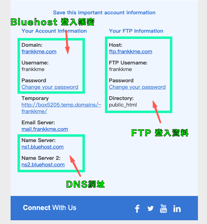 bluehost 帳戶資訊