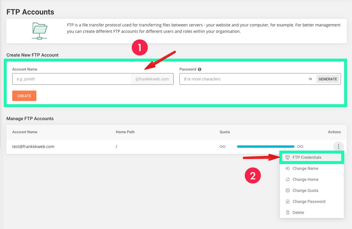 網站製作 :FTP Accounts 上傳帳號
