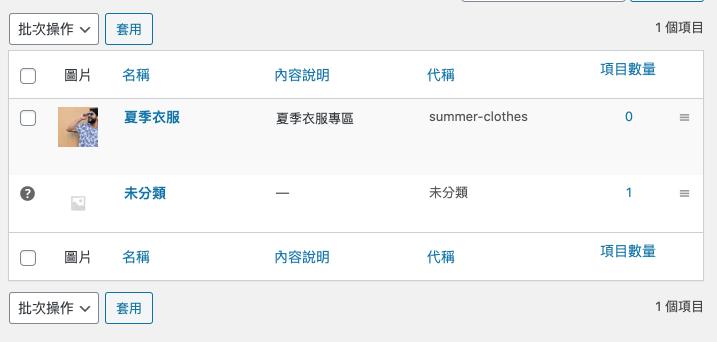 wordpress 商品分類