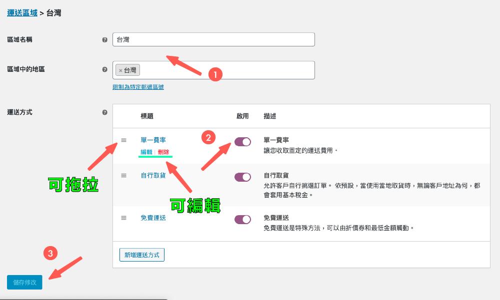 購物網站設計:編輯物流方式