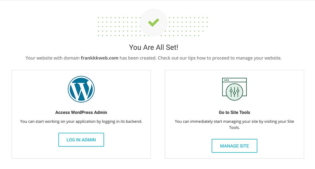 wordpress網站安裝成功