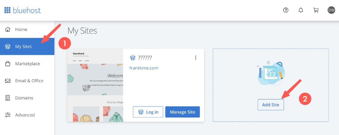 bluehost新增多個網站