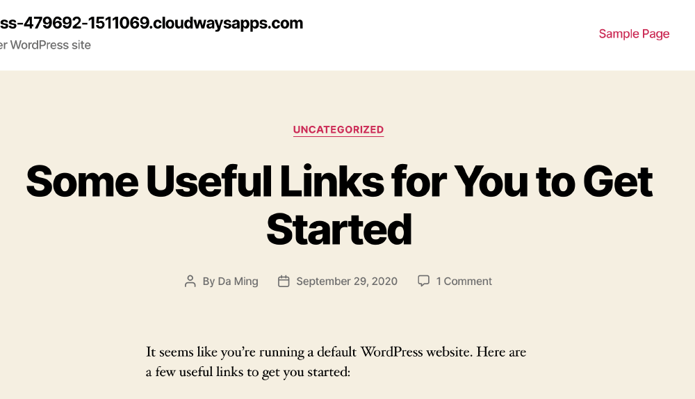 WordPress 網站架設,成功出現。