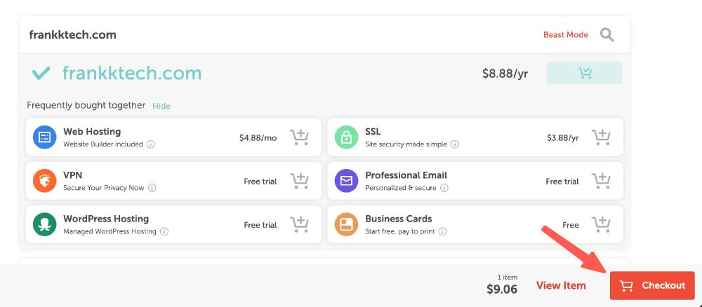 NameCheap教學 :確認可購買網址,加入購物車