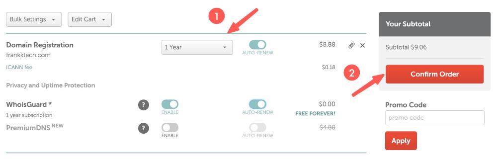 NameCheap教學 :調整網域購買內容