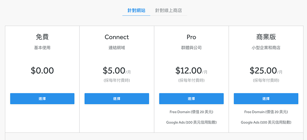 weebly 方案費用選擇