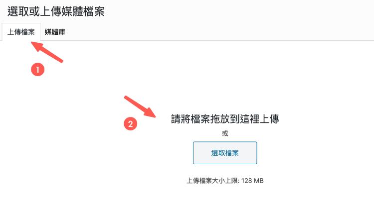 WordPress頁面 :使用媒體庫功能,上傳圖片
