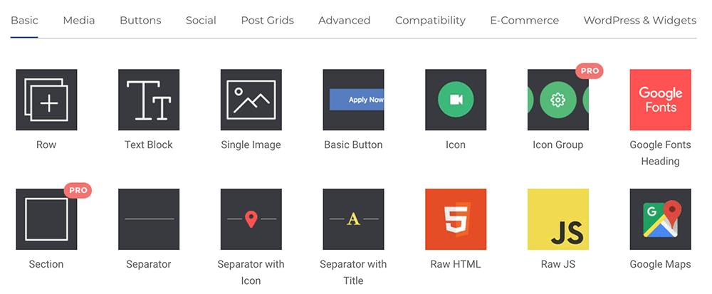 Visual Composer 頁面編輯器,多種網站區塊功能(僅列舉部分功能)