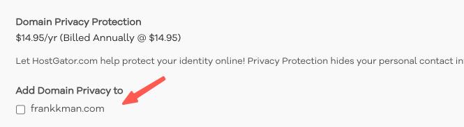 HostGator教學 :詢問是否增購網域隱私權保護