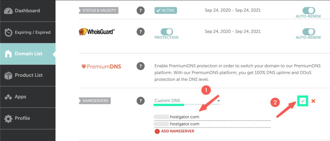 HostGator教學 :前往網域商,輸入 DNS 網址