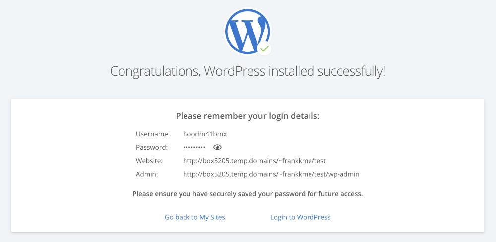 WordPress安裝 :WordPress 前後台登入相關資訊