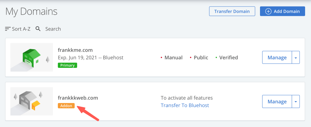 Bluehost 分配網域成功