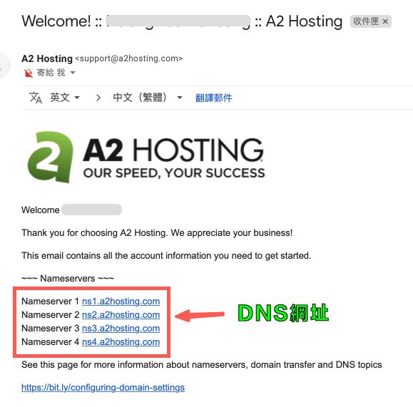 A2 主機教學:歡迎信件,包含 NameSever 網址