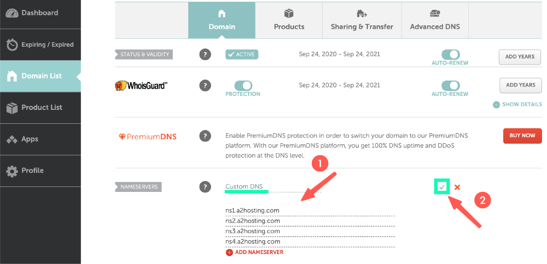 A2 hosting 主機教學:前往 NameCheap 設定 DNS 指向