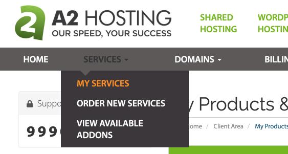 A2 hosting 主機教學:前往 My Services 我的服務
