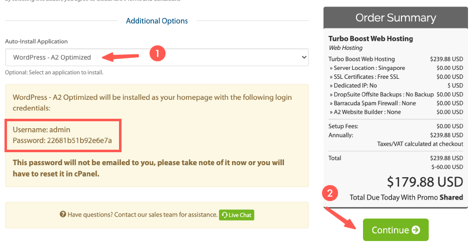 A2 hosting 主機:選擇應用程式,和確認項目