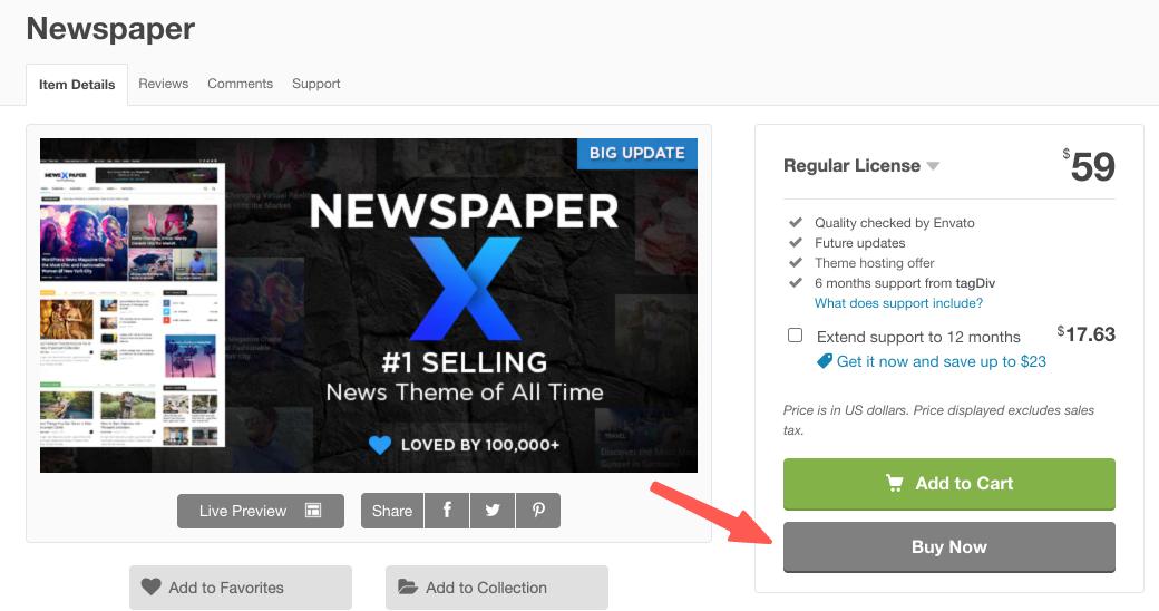 Newspaper WordPress 主題:前往 Newspaper 主題購買頁面
