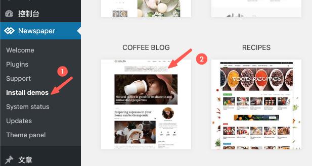 Newspaper WordPress 主題:安裝預設模板