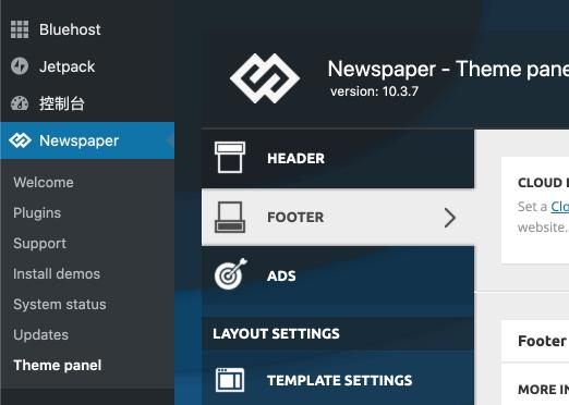 Newspaper WordPress 主題:前往 Footer 網站頁尾修改