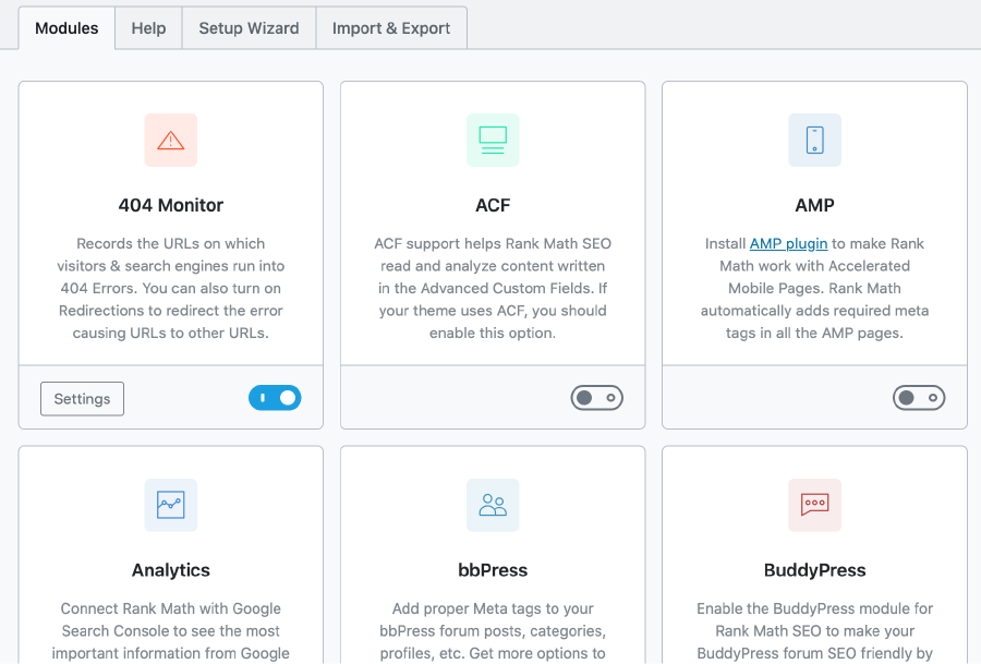 WordPress SEO外掛 :Rank Math 外掛首頁,多功能面板