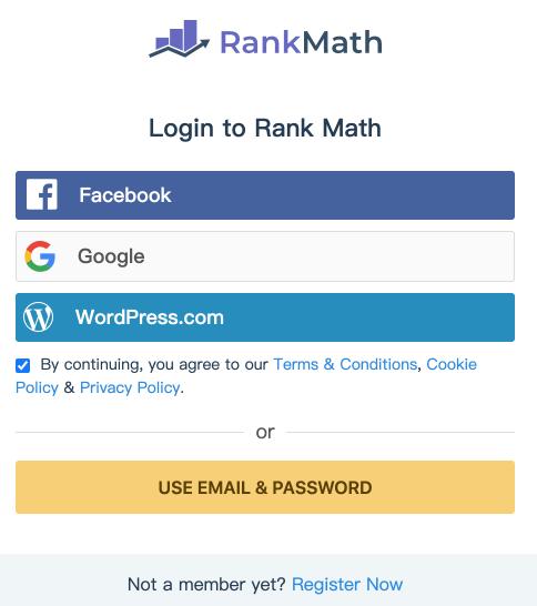 登入到 Rank Math SEO 外掛