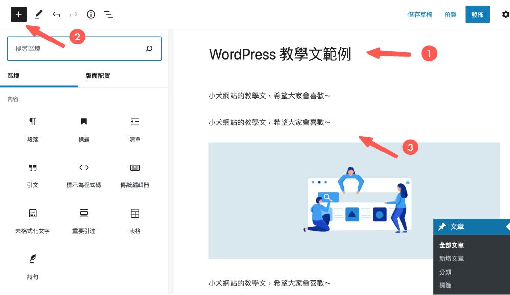 WordPress教學 :輸入標題和內文