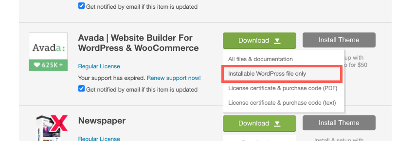 Avada 下載 WordPress 安裝檔