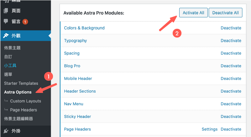 Astra Pro Theme 主題 :啟用所有的 Astra Pro 功能