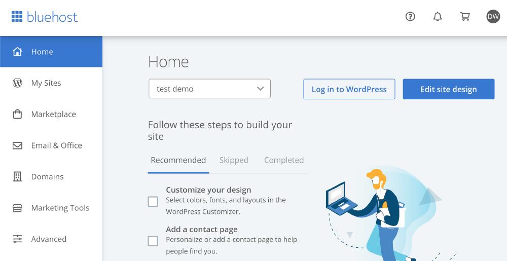 Bluehost評價 :後台介面,操作簡單、容易、乾淨