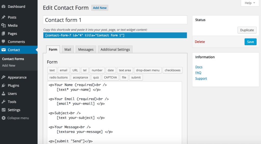 Contact Form 7 表單設計頁面