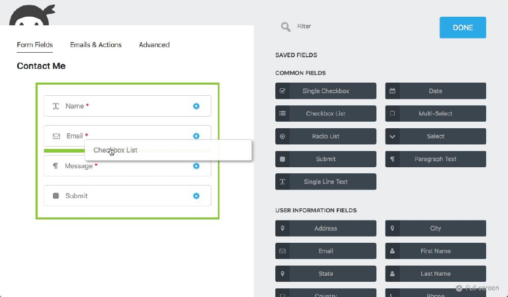 Ninja Forms 表單設計模組