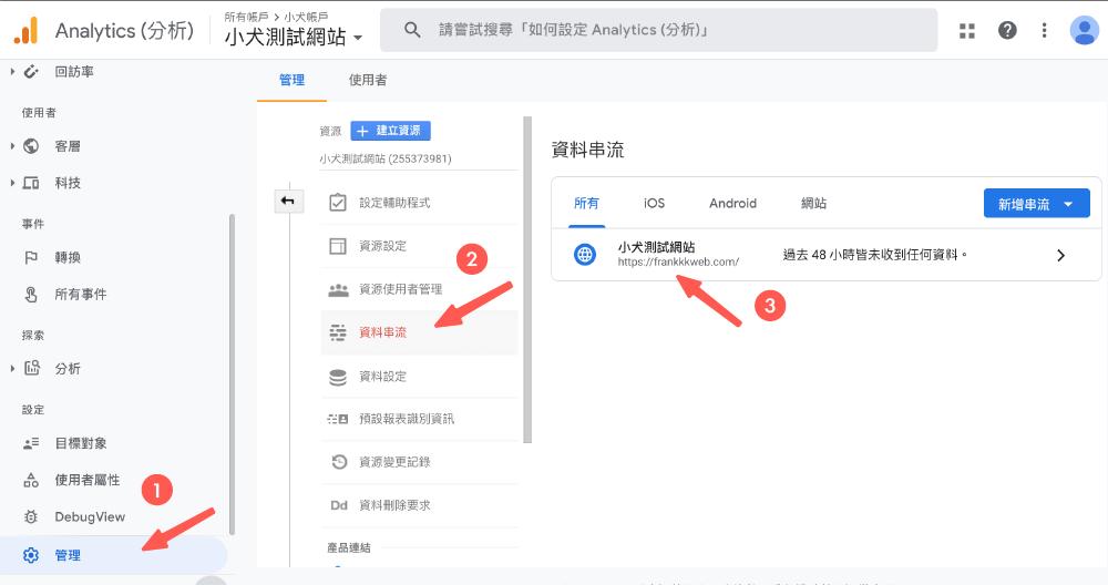 找到 Google Analytics 網站追蹤碼