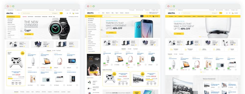 WooCommerce佈景主題 :Electro 多種可套用的頁面佈局