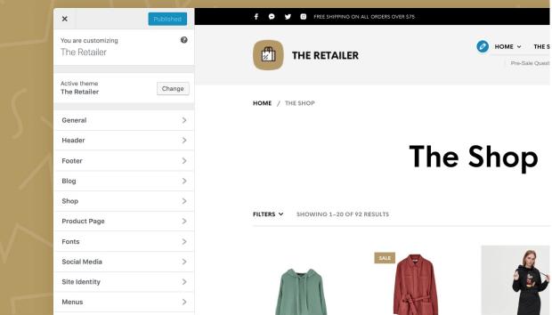 WooCommerce主題 :The Retailer 多種可調整選項