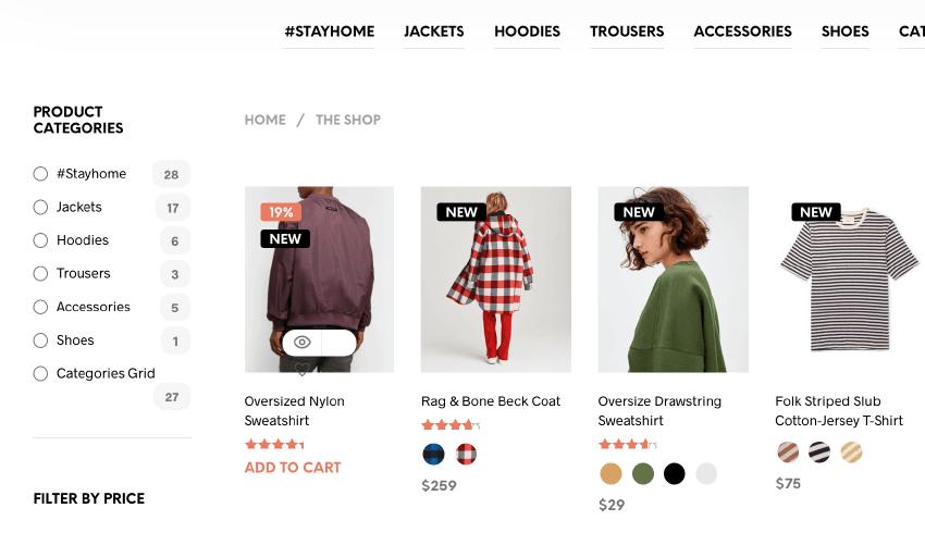 Shopkeeper 商品列表頁面(其中一款)