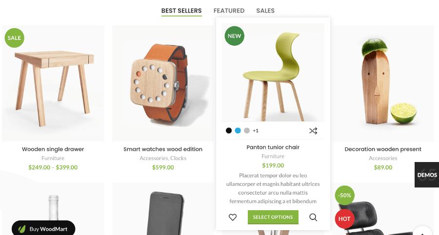 WooCommerce佈景主題 :WoodMart 商品列表頁面(其中一種)