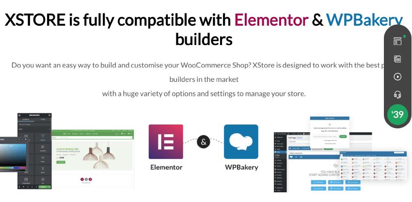 Xstore 主題和 Elementor & WPBakery 有完美兼容