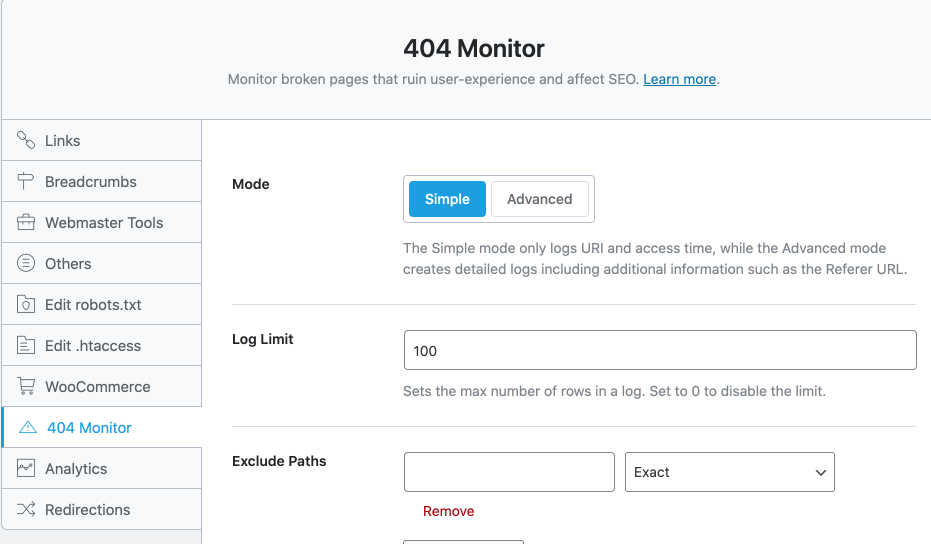 Rank Math 的 404 錯誤偵測設定