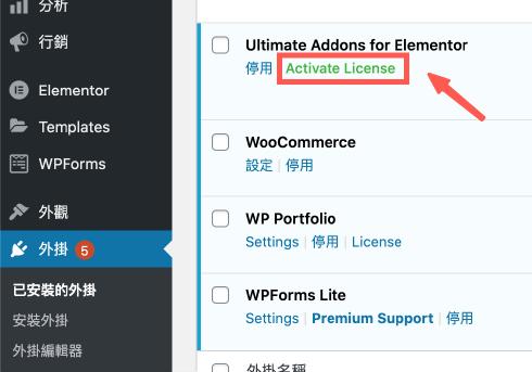 前往 WordPress 的 Ultimate Addons for Elementor 外掛,啟用憑證