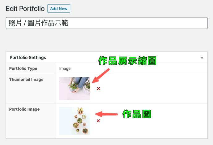 WP Portfolio 的 Image 照片 / 圖片類型編輯
