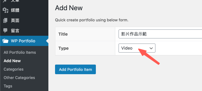 WP Portfolio 的 Video 影片類型示範