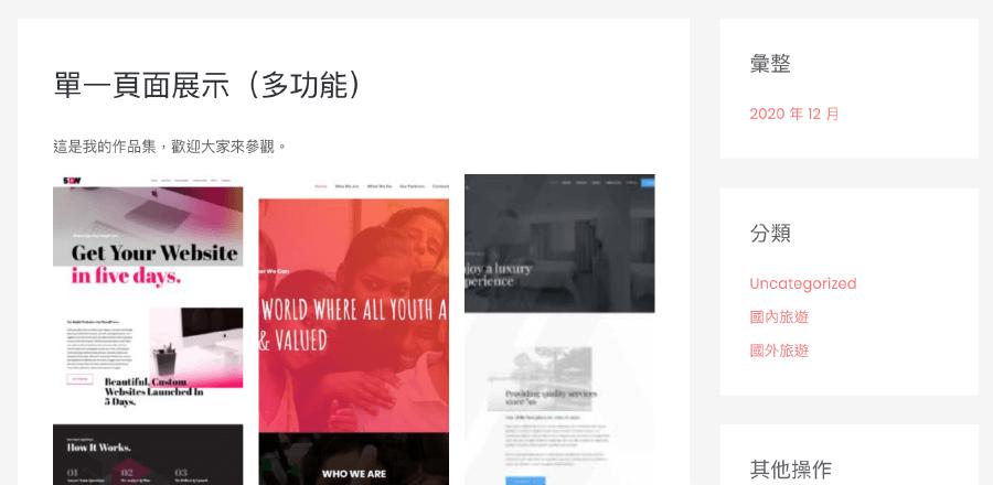 astra wp portfolio:Single Page 客製化展示頁面