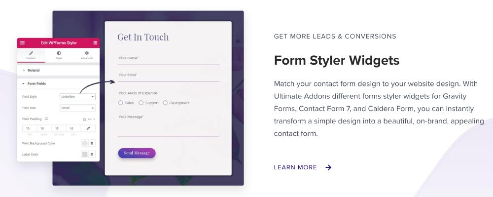 Ultimate Addons for Elementor :Form Styler Widgets 表單設計功能