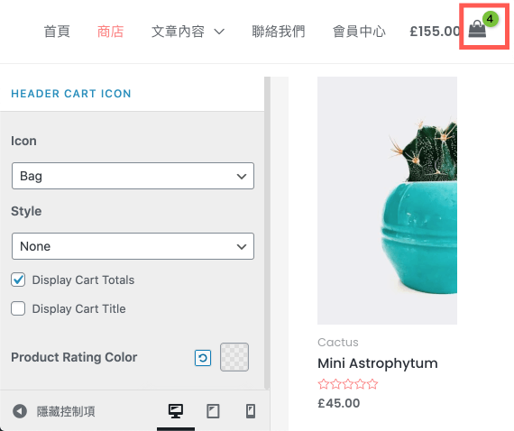 Astra Pro Theme 主題 :wordpress 購物車 icon 設計