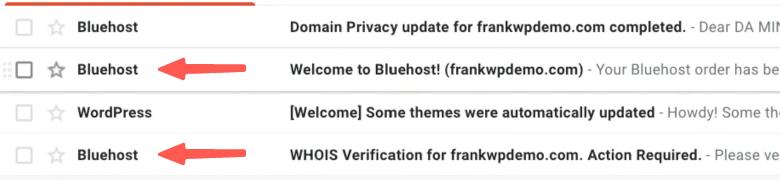 申請完成後,Bluehost 寄送的信件