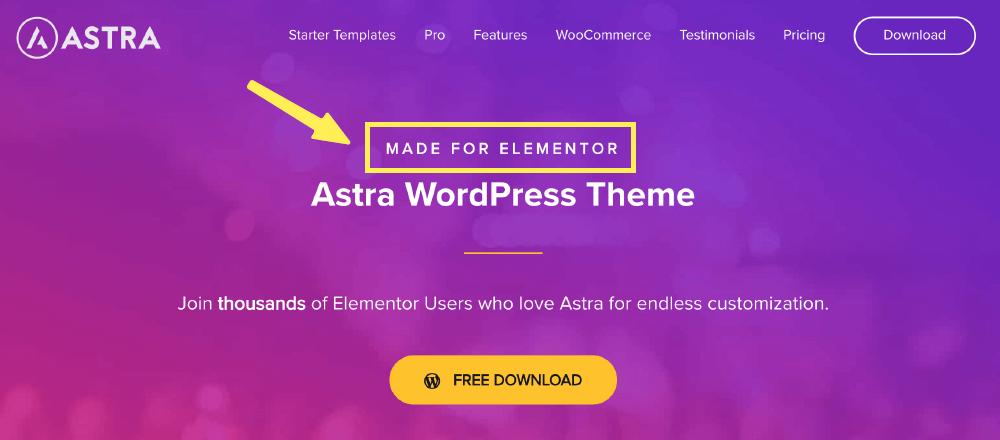 Astra 主題有支援 Elementor