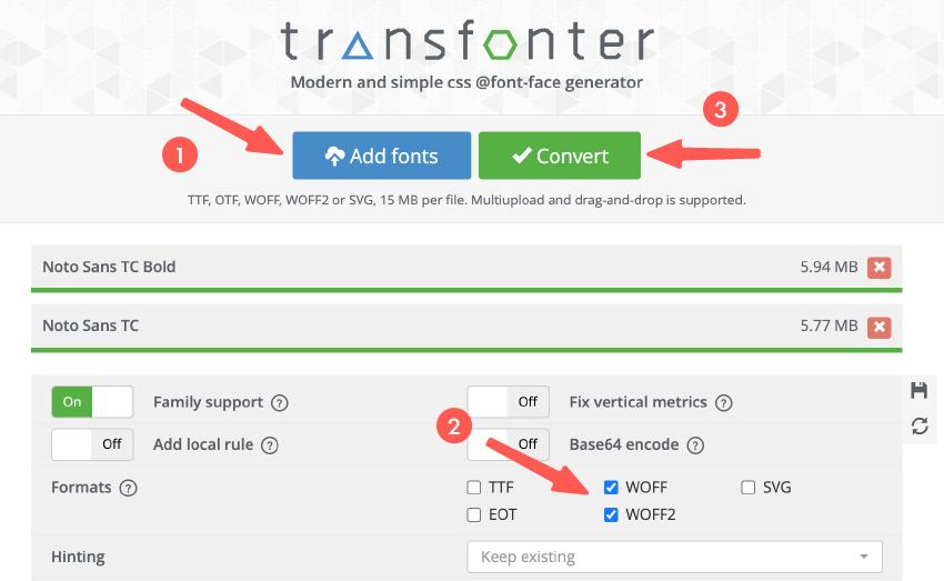 使用 transfonter 進行字體格式轉換